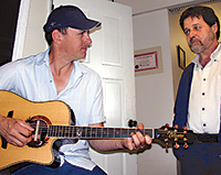 picture of Tom Cole and Andy Ferraz in the recording studio photo by Sheldon Ball